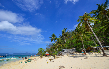 Palawan, Philippines - Apr 5, 2017. Beautiful sand beach in Palawan, Philippines. Palawan is one of the Philippine Islands top vacation destinations for foreign tourists. Editorial