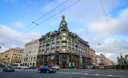 St. Petersburg, Russia - Oct 8, 2016. An old shopping mall located at downtown in St. Petersburg, Russia. Saint Petersburg has a significant historical and cultural heritage.