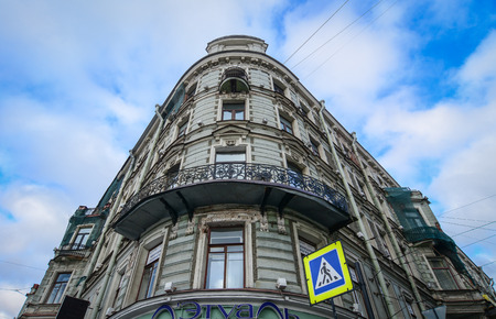 St. Petersburg, Russia - Oct 8, 2016. An old building located at downtown in St. Petersburg, Russia. Saint Petersburg has a significant historical and cultural heritage.
