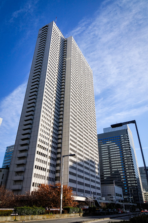 Tokyo, Japan - Jan 3, 2016. Modern buildings located at finance district in Tokyo, Japan. Tokyo urban area 38 million people had a total GDP of 2 trillion USD in 2012.