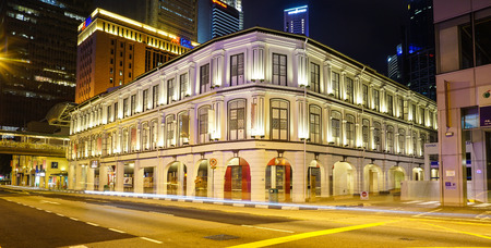 Singapore - Jul 5, 2015. An ancient palace at night in Chinatown, Singapore. Singapore is global financial center with a tropical climate and multicultural population. Editorial