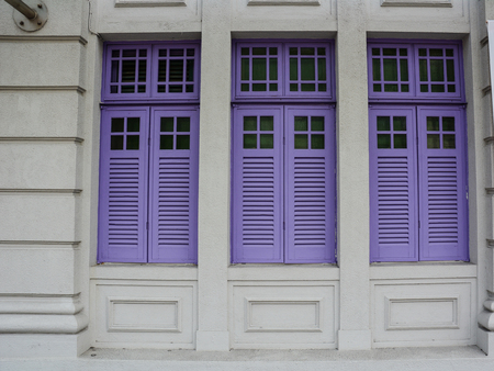 Purple Wooden Doors At An Old Palace In Singapore Is Global Financial Center With