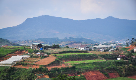 Landscape of Dalat Highlands with vegetable plantation in Vietnam. Da Lat is located 1,500 m above sea level on the Langbian Plateau.