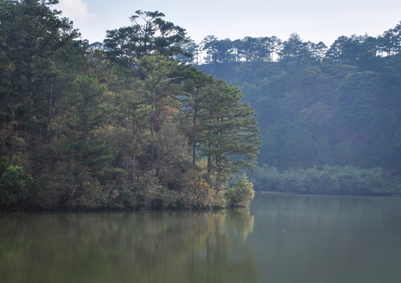 Lake with pine tree forest on Dalat Highlands in Vietnam. Da Lat is located 1,500 m above sea level on the Langbian Plateau. Stock fotó