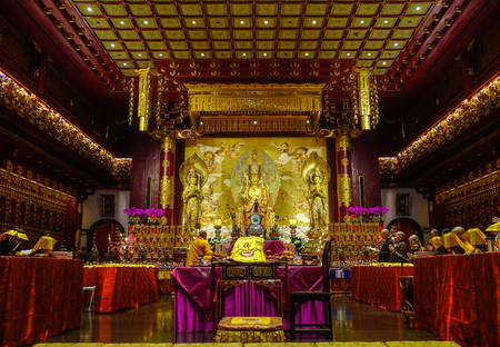 Singapore - Jun 12, 2017. Inside of Buddha Tooth Relic Temple in Chinatown, Singapore. Buddhism first appeared around the Singapore Straits during the 2nd century. Editorial