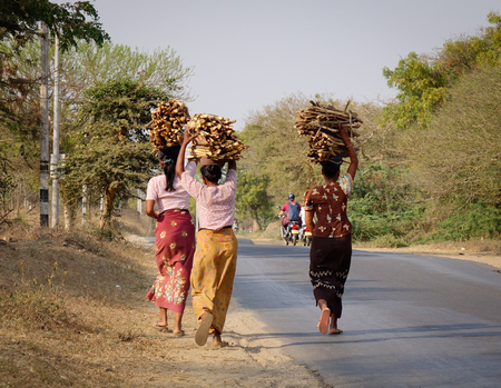 nascent: Bagan, Myanmar - Feb 17, 2016. Burmese women carrying wood on head in Bagan, Myanmar. The Bagan Archaeological Zone is a main draw for the country nascent tourism industry.