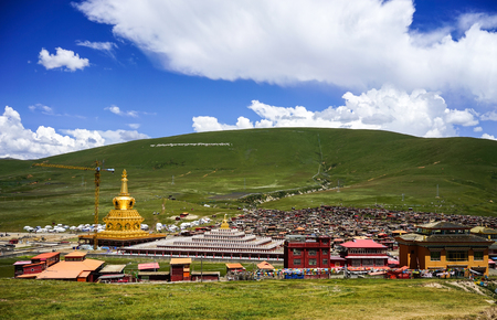 nuns: Sichuan, China - Aug 18, 2016. View of Yarchen Gar Monastery in Garze Tibetan, Sichuan, China. Yarchen Gar is the largest concentration of nuns and monks in the world. Editorial