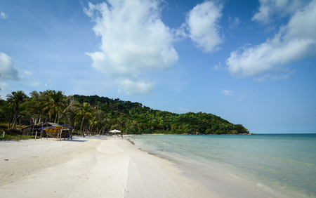 Landscape of Sao beach in Phu Quoc Island, Vietnam. Phu Quoc Island boasts idyllic beaches, romantic sunsets and evergreen forests.