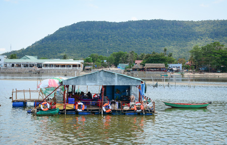 Phu Quoc, Vietnam - May 11, 2016. Floating restaurant at Ham Ninh Port in Phu Quoc Island, Vietnam. Phu Quoc is a Vietnamese island off the coast of Cambodia.