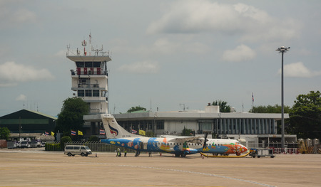 Chiang Mai, Thailand - Jun 22, 2016. Aircrafts docking at Chiang Mai Airport in Northern Thailand. In 2016, tourist arrivals are expected to grow by approximately 10 percent to 9.1 million. Editorial