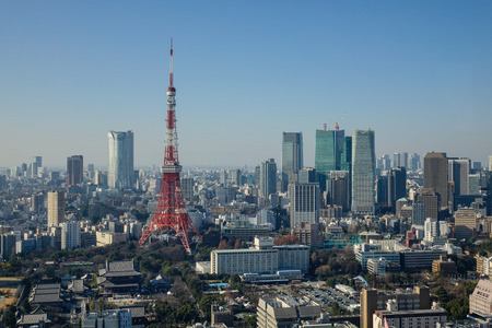 Tokyo, Japan - Jan 4, 2016. Aerial view of Tokyo Tower at downtown in Tokyo, Japan. With a population of 13.65 million people, Tokyo, the capital of Japan, is a world-leading megalopolis.