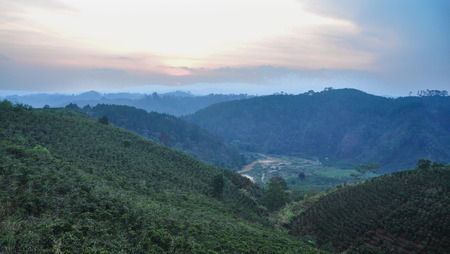 Mountain scenery on Dalat Highlands in Vietnam. Da Lat is located 1,500 m above sea level on the Langbian Plateau.