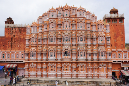 mughal empire: Jaipur, India - Jul 28, 2015. Facade of Hawa Mahal (Wind Palace) in Jaipur, India. Hawa Mahal is one of the prominent tourist attractions in Jaipur city. Editorial