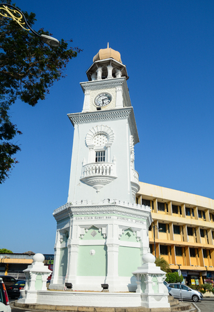 Penang, Malaysia - Mar 10, 2016. Queen Victoria Memorial Clock Tower in Penang, Malaysia. The tower was built by local Penang millionaire Cheah Chen Eok in 1897.