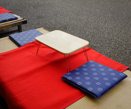 Japanese-style table at the local coffee shop in Kyoto, Japan.