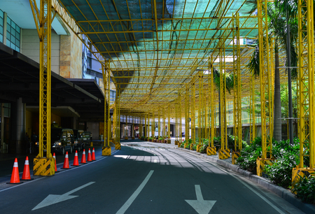 Manila, Philippines - Apr 14, 2017. Street at downtown in Manila, Philippines. Manila is a major center for commerce, banking, retailing, transportation and tourism.