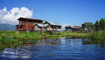 Floating village on Inle Lake in Shan, Myanmar. Inle Lake is a freshwater lake located in the Nyaungshwe Township of Taunggyi District of Shan State.