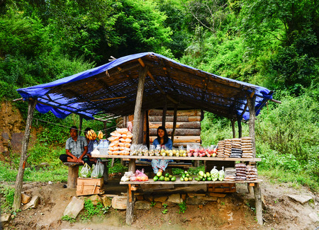 Thimphu, Bhutan - Aug 30, 2015. People selling fruits on mountain road in Thimphu, Bhutan. Thimphu is the capital and largest city of the Kingdom of Bhutan.