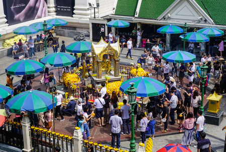 phrom: Bangkok, Thailand - Jun 17, 2017. People praying at Erawan Temple in Bangkok, Thailand. Thailand is Asia primary travel destination and offers a host of places to visit. Editorial