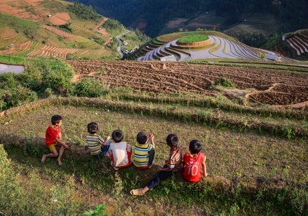 Mu Cang Chai, Vietnam - May 28, 2016. Children play on rice field in Mu Cang Chai, Vietnam. Mu Cang Chai is famous for its 700 hectares of terraced rice fields and a popular destination for tourists. Editorial