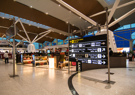 Delhi, India - Jul 14, 2015. Domestic Terminal of Gandhi Airport in New Delhi, India. The airport handled over 57.7 million passengers in fiscal year 2016-17.
