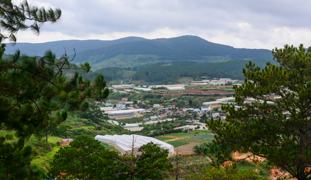 Mountain scenery on Dalat Highlands at summer in Vietnam. Da Lat is located 1,500 m above sea level on the Langbian Plateau.