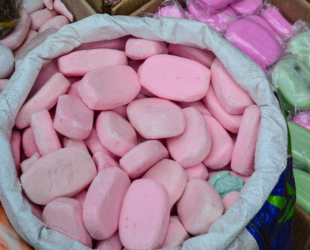 Soap for sale at street market in Old Delhi, India.