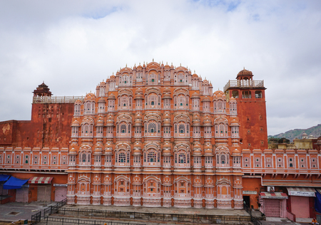 mughal empire: Jaipur, India - Jul 28, 2015. View of the Hawa Mahal (Wind Palace) in Jaipur, India. Hawa Mahal is one of the prominent tourist attractions in Jaipur city. Editorial