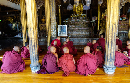 Nyaungshwe, Myanmar - Feb 14, 2016. Many novices studying at a wooden monastery in Nyaungshwe, Myanmar. Nyaungshwe is a township of Taunggyi in the Shan State of Myanmar.
