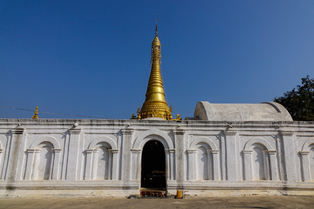 A Buddhist temple at sunny day in Nyaungshwe, Myanmar. Nyaungshwe is a township of Taunggyi District in the Shan State of Myanmar.