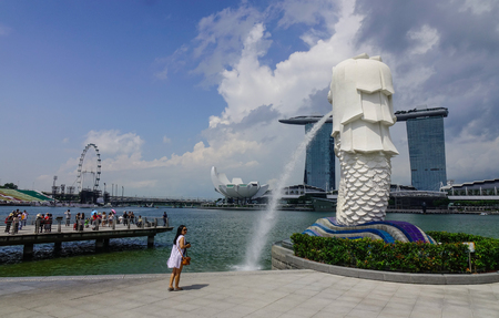 Singapore - Jun 13, 2017. View of the Merlion of Marina Bay in Singapore. Singapore is one of the most popular travel destinations in the world for a lot of reasons.