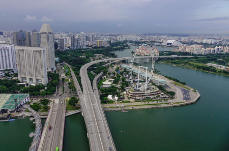 Singapore - Jun 13, 2017. Aerial view of downtown in Singapore. Singapore is the 14th largest exporter and the 15th largest importer in the world.