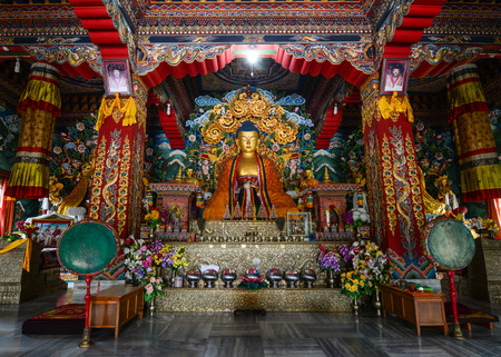 Bodh Gaya, India - Jul 9, 2015. Interior of Royal Bhutanese Monastery in Bodhgaya, India. Bodh Gaya is a religious site and place of pilgrimage associated with many temples in Bihar.