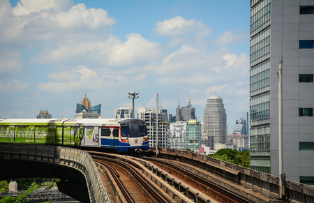 Bangkok, Thailand - Jun 15, 2016. A BTS train coming to Silom station in Bangkok, Thailand. Bangkok attractions and city life appeal to diverse groups of tourists. Editorial