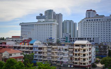 Pattaya, Thailand - Jun 20, 2017. Modern buildings at downtown in Pattaya, Thailand. Pattaya is on the east coast of the Gulf of Thailand, about 100 kilometres south-east of Bangkok.