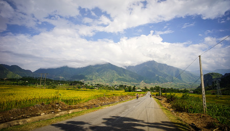 Mountain road in Sapa, Northern Vietnam. Sa Pa has the biggest market in the province and also is famous for the terraced rice fields.