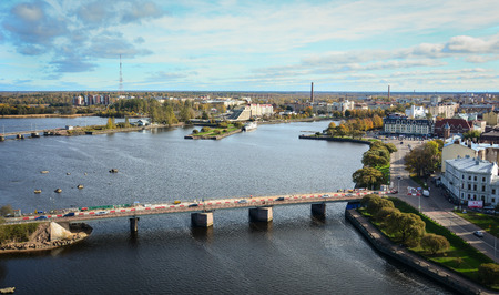 Vyborg, Russia - Oct 6, 2016. Aerial view of Vyborg, Russia. With its cobblestoned streets and medieval castle, Vyborg makes the perfect day trip from St Petersburg.