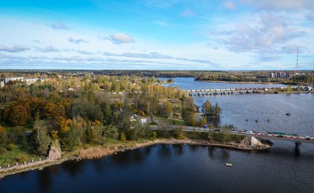 reviews: Aerial view of Vyborg, Russia. With its cobblestoned streets and medieval castle, the picturesque town of Vyborg makes the perfect day trip from St Petersburg.