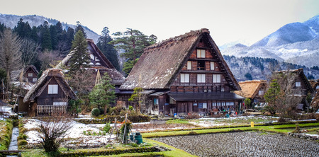Gifu, Japan - Dec 28, 2015. Historic Village of Shirakawago at winter day in Gifu, Japan. Shirakawago is widely known as one of the most scenic places in Japan.