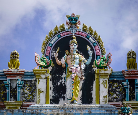God Shiva statue for decoration at an ancient Hindu temple in Mauritius Island. Mauritius, an Indian Ocean island nation, is known for its beaches lagoons and reefs.