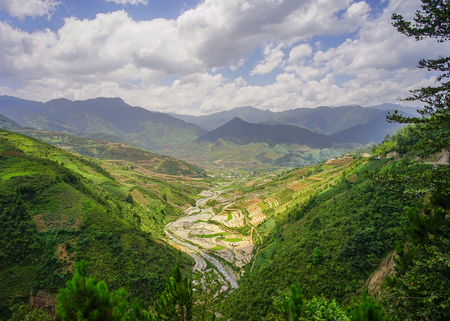Mountain scenery in Ha Giang, Vietnam. Ha Giang impresses visitors with its high karst plateau, steep hills, winding roads and ethnic diversity.