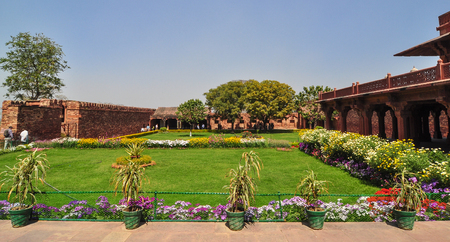Garden of Agra Fort at sunny day in Uttar Pradesh, India. It was the main residence of the emperors of the Mughal Dynasty till 1638. Editorial
