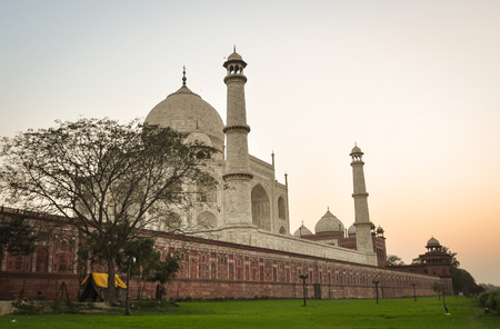 Taj Mahal at sunrise in Agra, India. Taj Mahal, one of the most beautiful monuments, is one of the wonders of the world.
