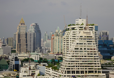 Bangkok, Thailand - Jun 17, 2017. Cityscape of Silom District in Bangkok, Thailand. Bangkok has a population of over 8 million or 12.6 percent of the country population. Editorial