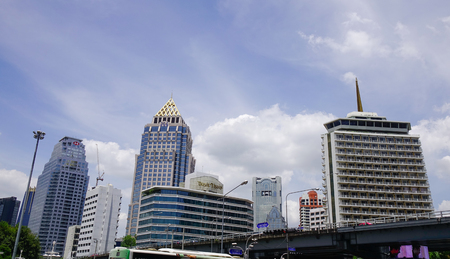 Bangkok, Thailand - Jun 17, 2017. Top of modern buildings at downtown in Bangkok, Thailand. Bangkok has a population of over 8 million or 12.6 percent of the country population.