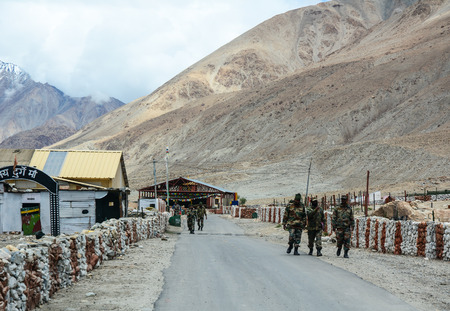 Ladakh, India - Jul 21, 2015. Military base in Ladakah, Northern India. Ladakh was the connection point between Central Asia and South Asia when the Silk Road was in use.