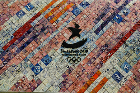 Singapore - Dec 14, 2015. Ceramic wall with Olympic Games logo in Singapore. Singapore referred to as the Lion City the Garden City is a sovereign city-state in Southeast Asia.