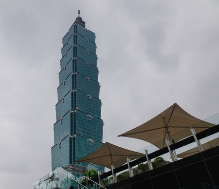 referred: Taipei, Taiwan - Jan 8, 2016. Taipei101 Building located at business district in Taipei, Taiwan. Taipei is capital city of the Republic of China (commonly referred to as Taiwan).