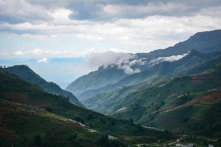 Mountain scenery in Sapa Township, Northern Vietnam. The town of Sa Pa lies at an elevation of about 1500 meters (4,921 feet) elevation.