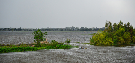 Scenery of Mekong Delta during the flood season in Southern Vietnam.